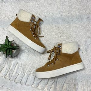 MARC FISHER Darlen tan suede & sherpa ankle boots
